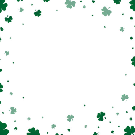 Saint Patrick's Day card with clover leaves on white background. Vector illustration