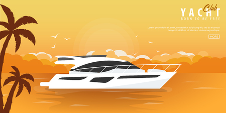 Yacht club and sailing sport banner. Sea travel. Vector illustration Foto de archivo