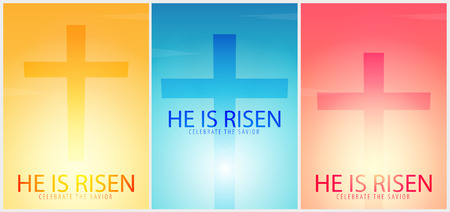 He is Risen. Celebrate the savior. Set of Easter Church posters with cross, christian motive. Vector illustration