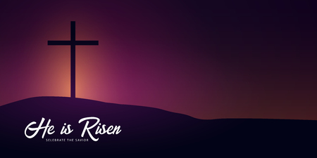 He is Risen. Celebrate the savior. Easter Church banner with cross, christian motive. Vector illustration Stockfoto