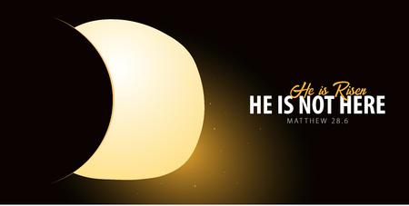 È risorto. Festeggia il salvatore. Insegna della chiesa di Pasqua con la tomba aperta, motivo cristiano. Illustrazione vettoriale Vettoriali