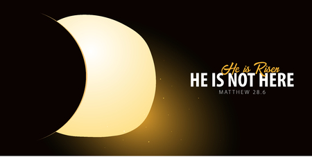 He is Risen. Celebrate the savior. Easter Church banner with open tomb, christian motive. Vector illustration