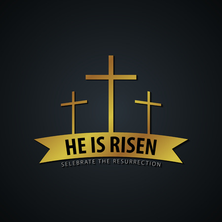 He is Risen. Church easter icon, emblem, labels or stickers with cross. Vector graphics