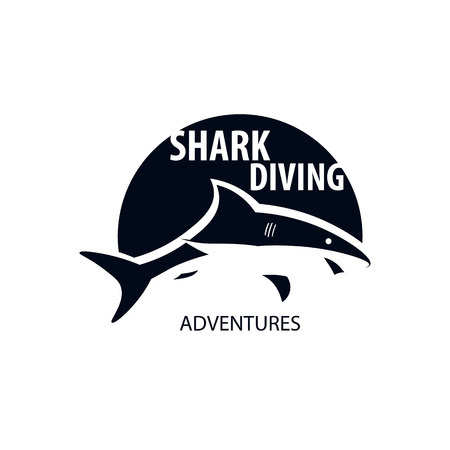 Diving club emblem or logo with shark design.