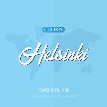Hello from Helsinki. Travel to Finland. Touristic greeting card. Vector illustration. Illustration