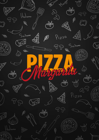 Pizza food menu for restaurant and cafe with related icons in the background.