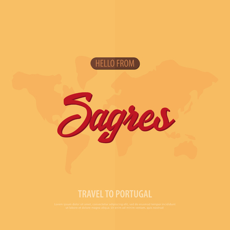 Hello from Sagres. Travel to Portugal. Touristic greeting card  Vector illustration Illustration