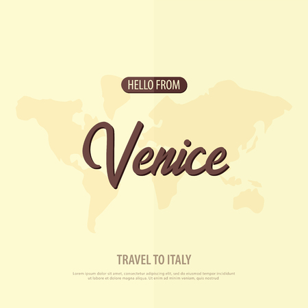 Hello from Venice. Travel to Italy. Touristic greeting card  Vector illustration Vettoriali