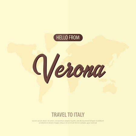 Hello from Verona. Travel to Italy. Touristic greeting card vector illustration.