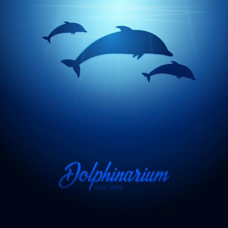 Underwater background with sun rays and silhouettes of dolphins.