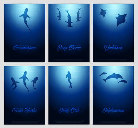 Set of underwater background with sun rays and silhouettes of fishes and other related icons. Иллюстрация