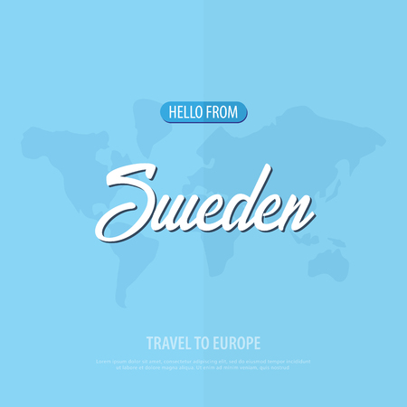 Hello from Sweden. Travel to Europe. Touristic greeting card. Vector illustration Stock Vector - 98460843