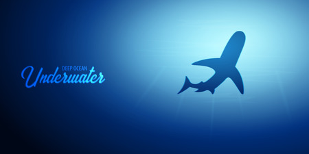 Underwater background with sun rays and silhouette of Shark. Deep Ocean banner. Color vector illustration