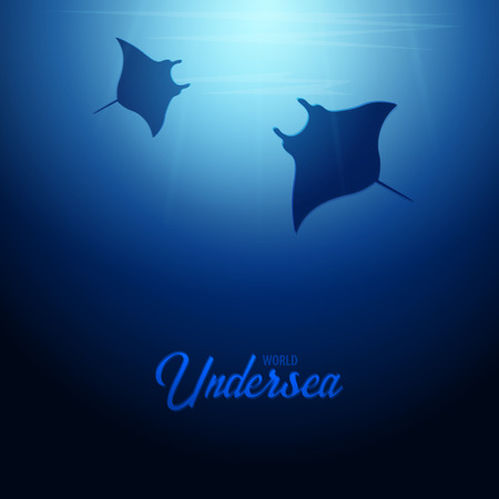 Underwater background with sun rays and silhouette of stingray or manta ray. Deep Ocean banner. Color vector illustration