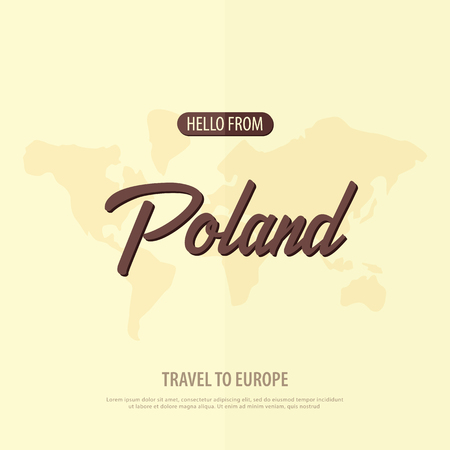 Hello from Poland. Travel to Europe. Touristic greeting card. Vector illustration