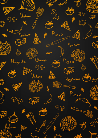 Pizza Pattern. Pizza Background in Doodle Style. Vector illustration. Иллюстрация