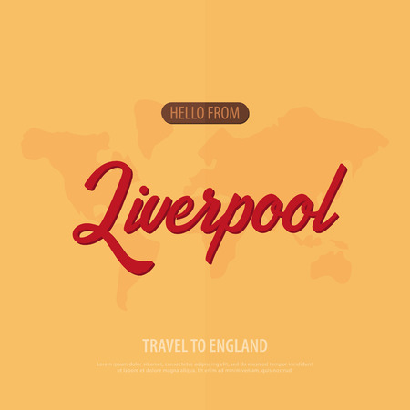Hello from Liverpool. Travel to England. Touristic greeting card. Vector illustration Illustration