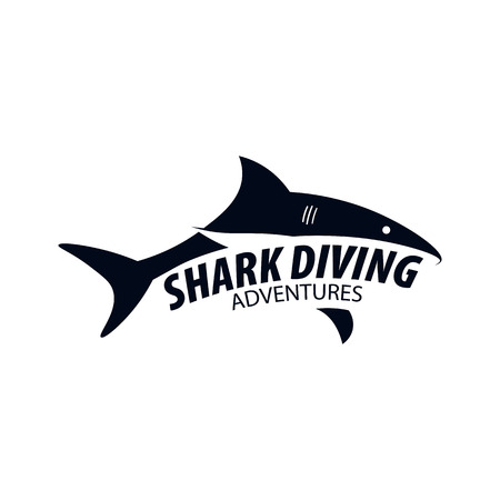 Diving Club. Emblem or logo with Shark. Vector illustration 版權商用圖片 - 98460928
