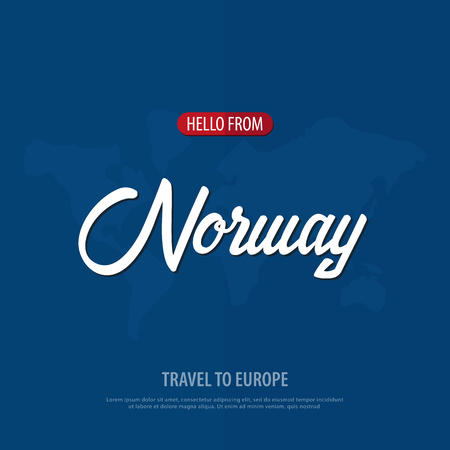 Hello from Norway. Travel to Europe. Touristic greeting card. Vector illustration Stock Photo