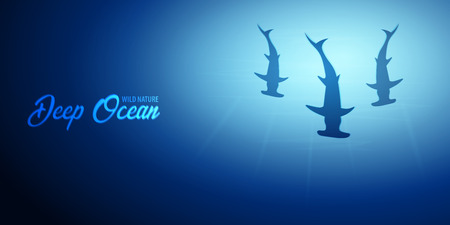 Underwater background with sun rays and silhouette of fish hammer. Deep Ocean banner. Color vector illustration Stock Photo