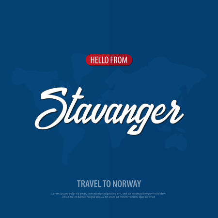 Hello from Stavanger. Travel to Norway. Touristic greeting card. Vector illustration
