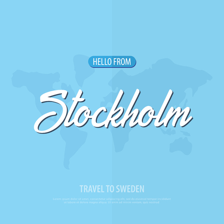 Hello from Stockholm. Travel to Sweden. Touristic greeting card. Vector illustration Stock Illustration - 98522638