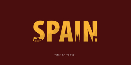 Spain. Travel bunner with silhouettes of sights. Time to travel. Vector illustration
