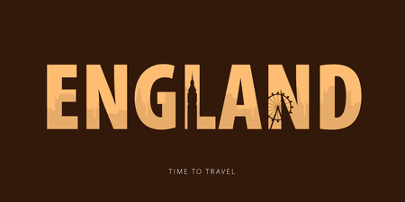 England. Travel bunner with silhouettes of sights. Time to travel. Vector illustration
