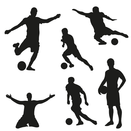 A set of vector set of football, soccer players. Vector Iluustration