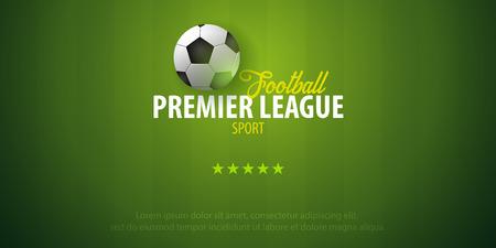 Football or Soccer design banner. Soccer championship. Vector ball. Vector illustration
