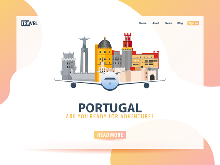 Travel banner or web template Çizim