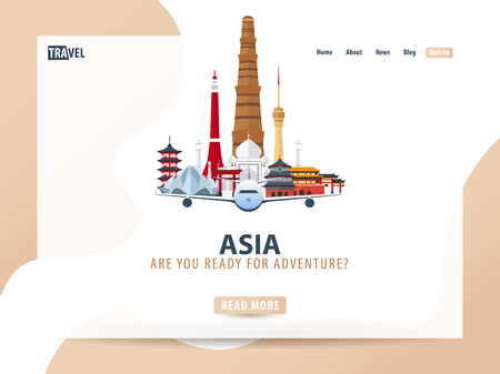 Asia. Travel banner or web template for web site or landing page. Time to travel. Vector UI illustration Illustration
