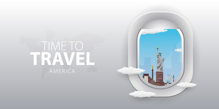 View from airplane. Flight window. America. Flat web vector banner