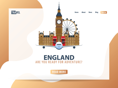 England. Travel banner or web template for web site or landing page. Time to travel. Vector UI illustration Фото со стока