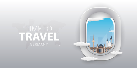 View from airplane. Flight window. Germany. Flat web vector banner