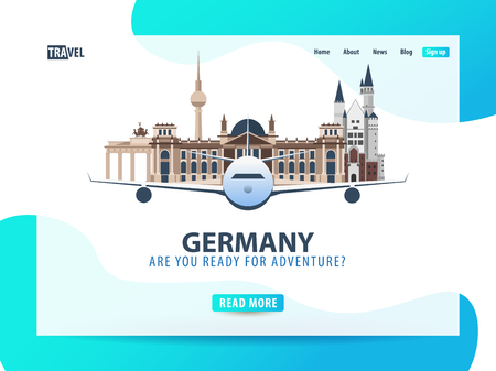 Germany. Travel banner or web template for web site or landing page. Time to travel. Vector UI illustration