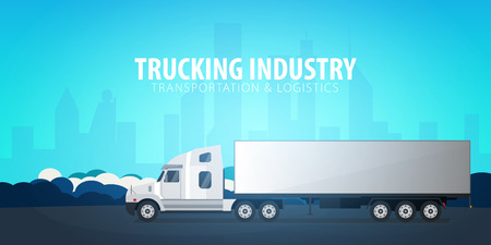 Trucking Industry banner, Logistic and delivery. Semi truck. Vector Illustration Archivio Fotografico - 100188414