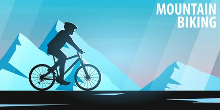Mountain biking. Downhill bike. Sport banner, active lifestyle. Vector illustration