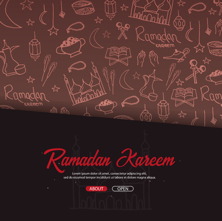 Illustration of Ramadan Kareem with hand draw doodle background for the celebration of Muslim community festival