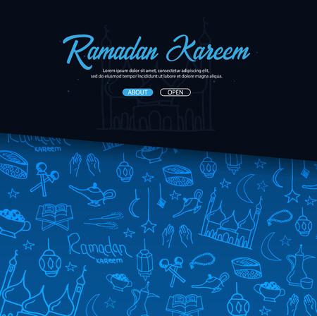 Illustration of Ramadan Kareem with hand draw doodle background