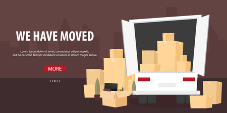 Moving Home, We are moved. Moving Truck with Boxes. Vector cartoon style illustration Stock Photo