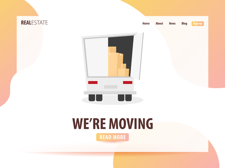 Moving Home, We are moved. Moving Truck with Boxes. Vector cartoon style illustration. UI or landing page Stock Photo