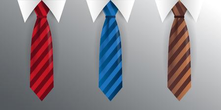 Set of Tie, necktie on a gray background. Vector illustration 일러스트