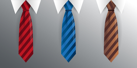Set of Tie, necktie on a gray background. Vector illustration Ilustração
