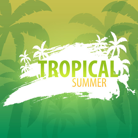 Summer tropical background with palms and sunset. Summer placard poster flyer invitation card. Summer time. Vector Illustration  イラスト・ベクター素材