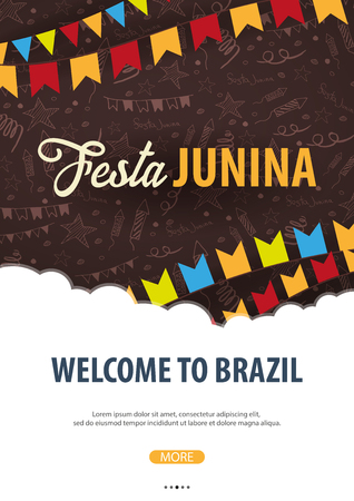 Festa Junina background with hand draw doodle elements and party flags. Brazil or Latin American holiday. Vector illustration Vettoriali