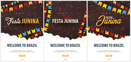 Set of Festa Junina backgrounds with hand draw doodle elements and party flags. Brazil or Latin American holiday. Vector illustration  イラスト・ベクター素材