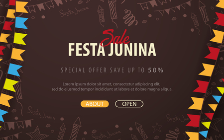 Festa Junina background with hand draw doodle elements and party flags. Brazil or Latin American holiday. Vector illustration Stock Illustratie