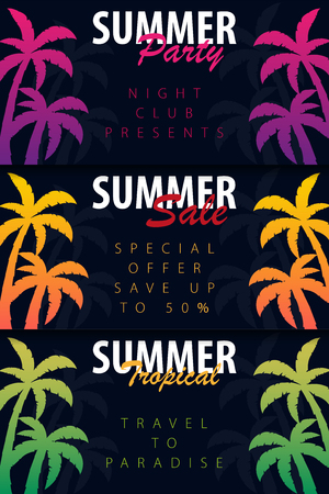 Summer Tropical backgrounds set with palms. Summer placard poster flyer invitation card. Summer time. Vector Illustration