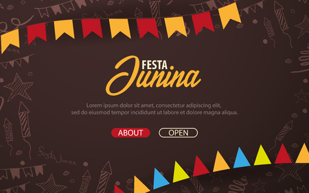 Festa Junina background with hand draw doodle elements and party flags. Brazil or Latin American holiday. Vector illustration Stock Photo